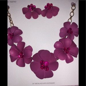 Beautiful Flower Necklace with Earrings